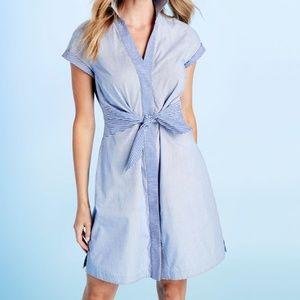 Vineyard Vines tie front mixed striped shirt dress